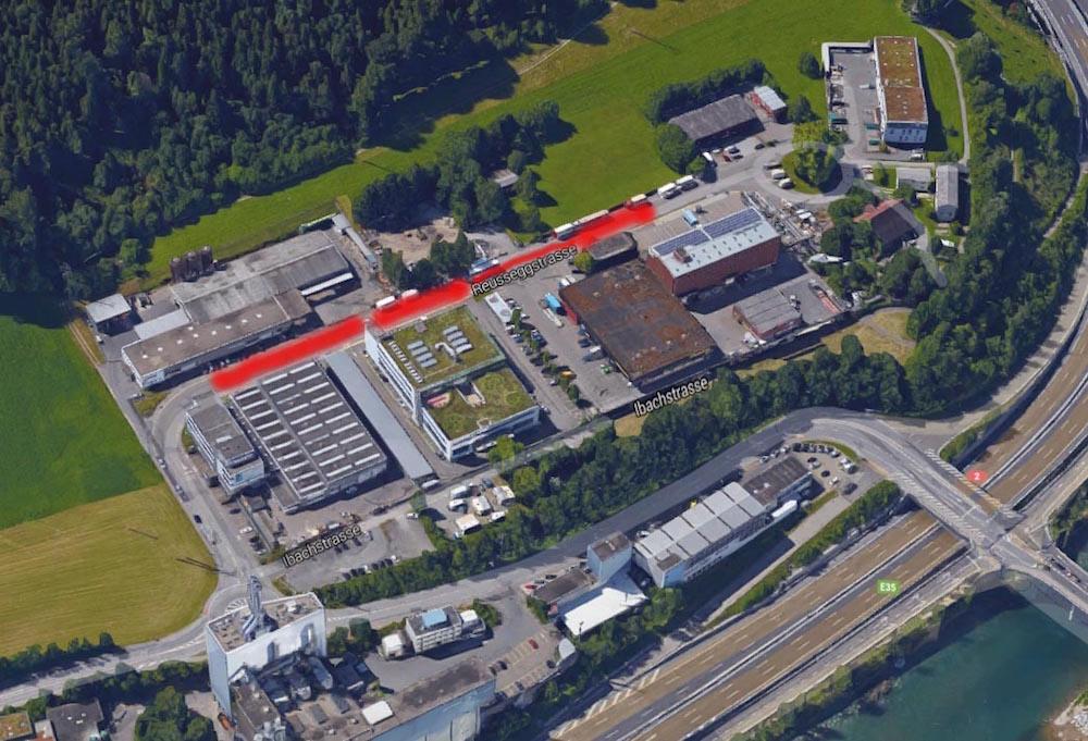 Der Luzerner Strassenstrich findet hauptsächlich im Gebiet Ibach entlang der Reusseggstrasse (rot eingefärbt) statt.