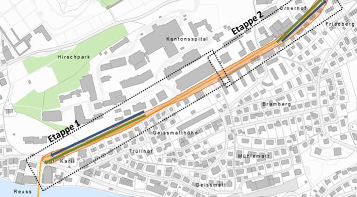 Die Etappen eins und zwei auf der Spitalstrasse sollen zeitversetzt realisiert werden. Grün eingezeichnet sind die Abschnitte mit Busbevorzugungsmassnahmen. Blau markiert sind Abschnitte für Veloförderungsmassnahmen.