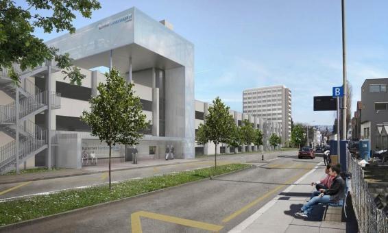So soll die Passaraelle mit dem neuen Lift vor dem Kantonsspital-Parkhaus aussehen. Der Bus hält neu direkt davor.