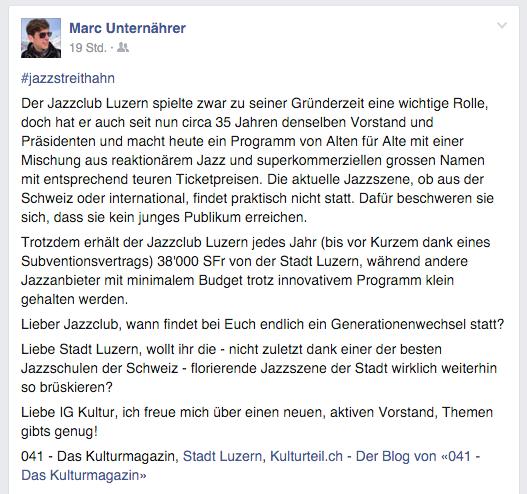 Themen gibt's genug: Zum Beispiel das von Musiker Marc Unternährer.