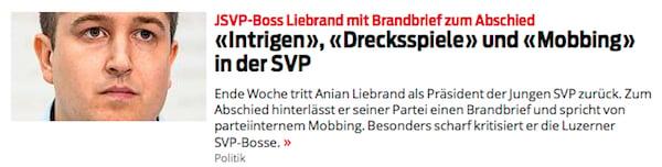 Diese Blick-Schlagzeilen dürften nicht allen SVP-Exponenten gefallen. (Bild: printscreen blick.ch)