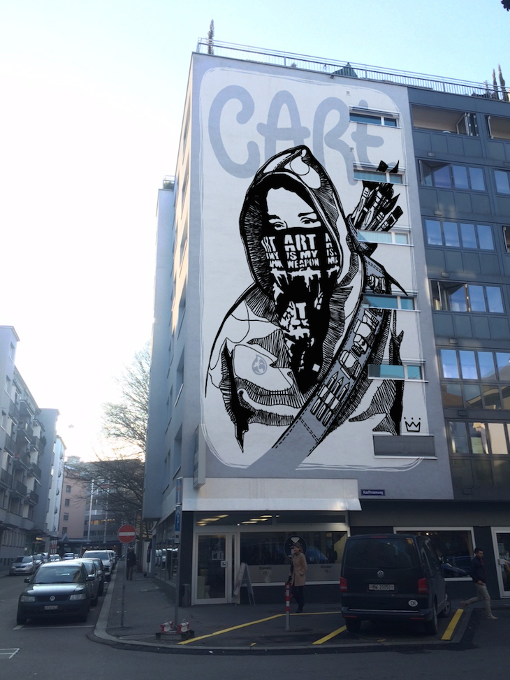 Auch an der Ecke Kaufmannweg Murbacherstrasse hätte ein grosses Wandbild Platz. (Bild: Montage Queenkong)