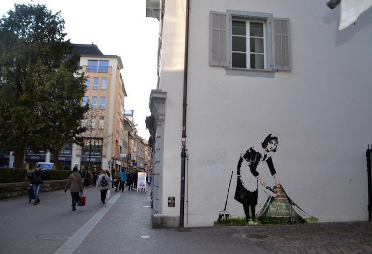Ein «Banksy» in der Hertensteinstrasse. (Bild: Montage jav)