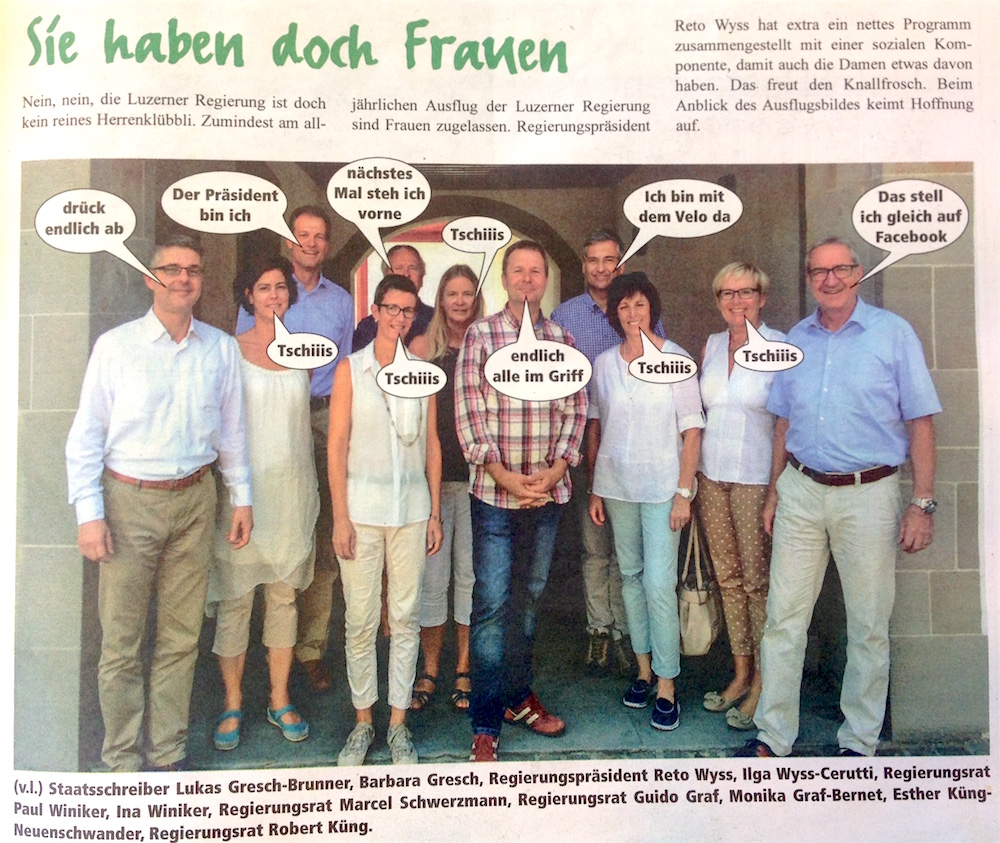 Die Luzerner Männerregierung mit Begleitung.