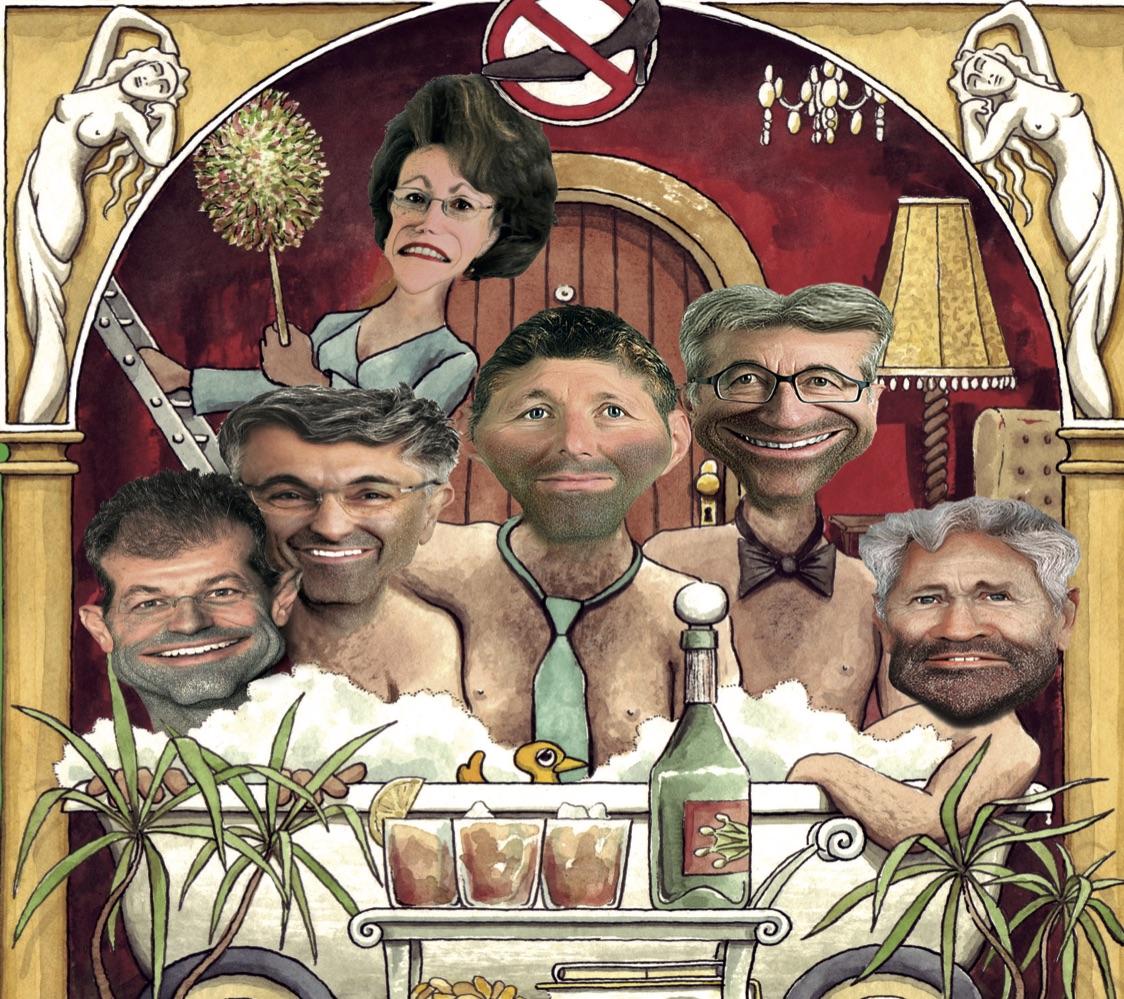 Auf der Titelseite thront die Regierung. Im Hintergrund die nicht gewählte SP-Kandidatin Felicitas Zopfi.