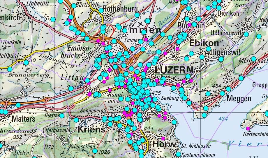 Antennen und kleinere Funkzellen in der Stadt Luzern