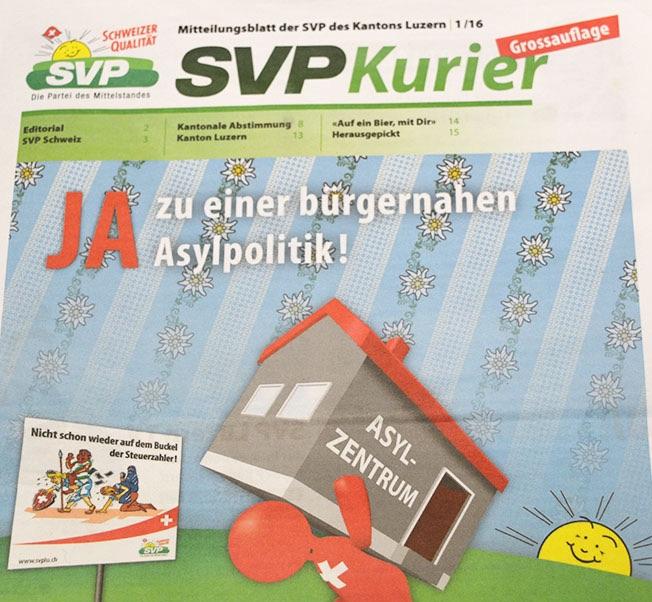 So sieht die Titelseite des neuen «SVP-Kurier» aus.