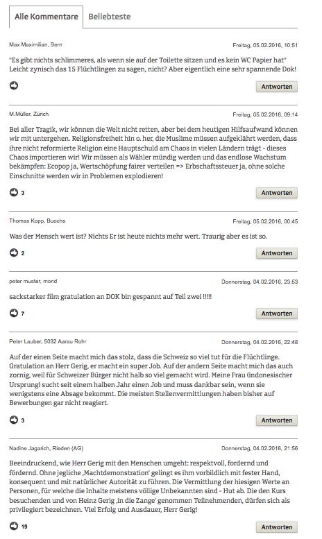 PrintScreen vom Kommentaren auf SRF-Online, die nach der Ausstrahlung des ersten Teils am Donnerstagabend abgegeben wurden.