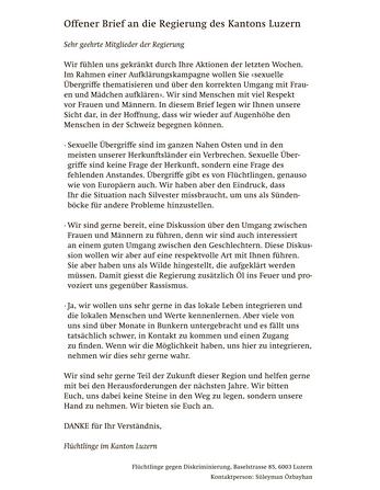 Der offene Brief, den die «NLZ» kommentarlos in der Ausgabe vom 6. Februar publizierte.