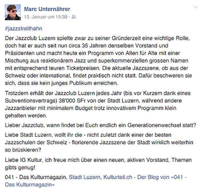 Kulturpolitik: bei Marc Unternährer immer wieder Thema auf Facebook.