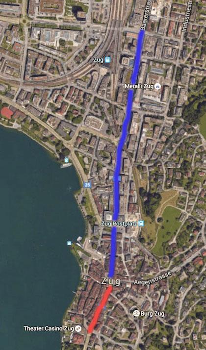 Die rot markierte Strecke führt vom Casino zum Kolinplatz. Das Bundesgericht empfiehlt hier eine Tempo-30-Testphase. Die blaue Linie kennzeichnet die Strecke vom Kolinplatz bis zur Gubelstrasse.