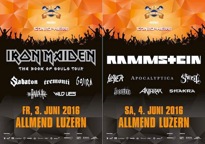 Das Programm von «Allmend Rockt» mit den beiden Headliners Iron Maiden und Rammstein.