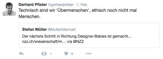 Geht es um Designer-Babies, findet Pfister, es fehle den Menschen an Ethik.