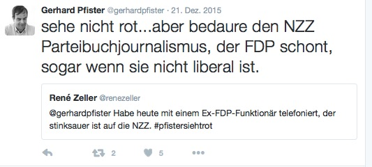 Pfister kritisiert die NZZ, zu FDP-nah zu sein.