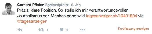 Lob an die Medien? Ein seltener Moment in Pfisters Twitter-Geschichte.