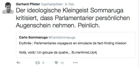 Gerhard Pfister scheint nicht viel von seinem Amtskollegen Carlo Sommaruga zu halten.