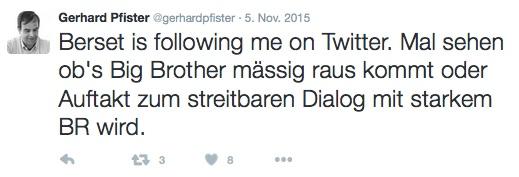 Als möglichen «Auftakt zum streitbaren Dialog» sieht Pfister Bersets Twitter-Vernetzung.