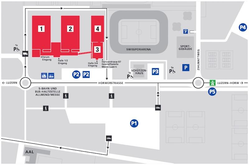 Das weisse Feld P1 ist der Hauptparkplatz auf der Allmend. 1000 Autos können dort parkieren. Nur: Genau auf diesem Gelände findet das Festival statt.