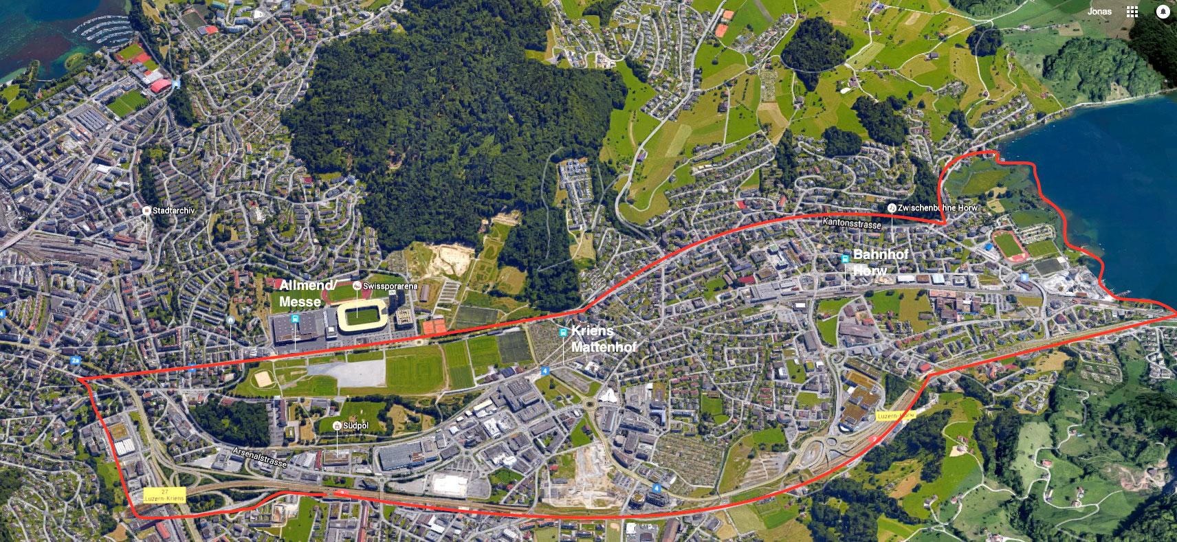 Das Gebiet Luzern Süd: Hier, zwischen Luzern, Horw und Kriens, soll sich die Einwohnerzahl verdoppeln.