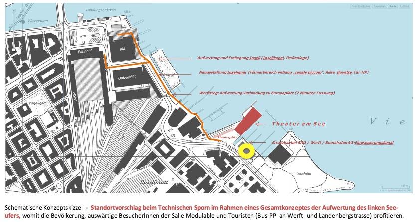 Bis anhin wurde als dritter Standort der Schotterplatz beim Alpenquai (gelb markiert) diskutiert. Der Vorschlag von Hiss und Heggli weicht davon ab. (Bild: Screenshot Argumentarium)