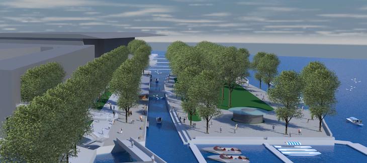 Hiss und Heggli schlagen ebenfalls eine Aufwertung des Inseli – mit der Freilegung des alten Kanals – vor. (Bild: arch-idee)
