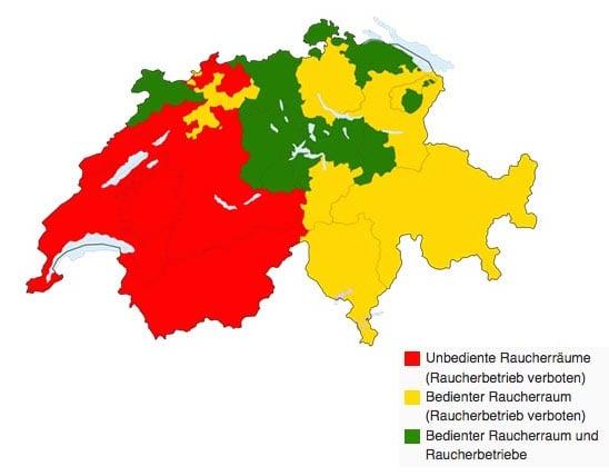 Rauchverbote der Kantone in der Gastronomie. (Quelle: Wikipedia)