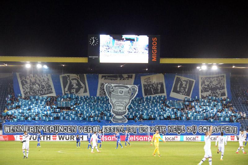Grossartige Choreo der FCL-Fans (Bild: Dominik Stegemann).