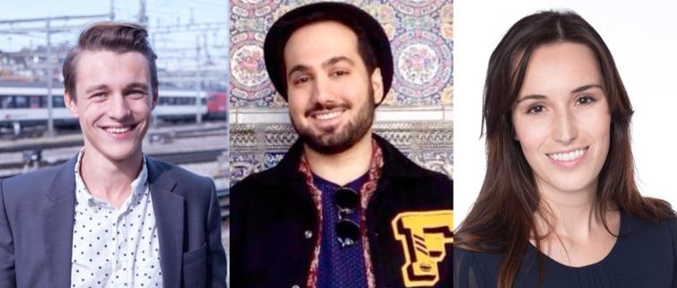 Für die drei Jungpolitiker geht es in erster Linie darum, ins Rampenlicht zu drängen. Von links: Yannick Gauch, Sina Khajjamian und Karin Stadelmann.