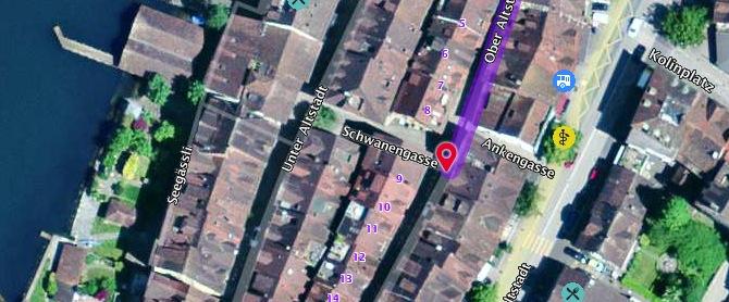 Standort des neuen Varietés: Das Eckhaus Ober Altstadt 9 /Schwanengasse in Zug.