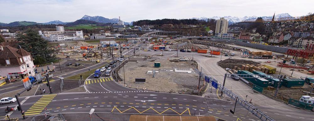 So sah die grösste Baustelle des Kantons Luzern im Januar 2016 aus. (Bild: Manuel Vazquez/Kanton Luzern)