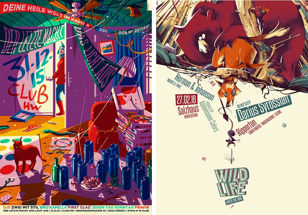 In sie steckt er sein ganzes Herzblut: Zwei Plakate von Amadeus Waltenspühl.
