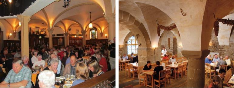 Stadtkeller (links) und Rathaus Brauerei weisen speziell wegen den gewölbten Decken auch architektonische Gemeinsamkeiten auf.