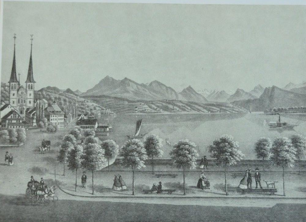Bereits 1865 wird offenbar dem See entlang flaniert. Immerhin standen Bänke zur Verfügung.