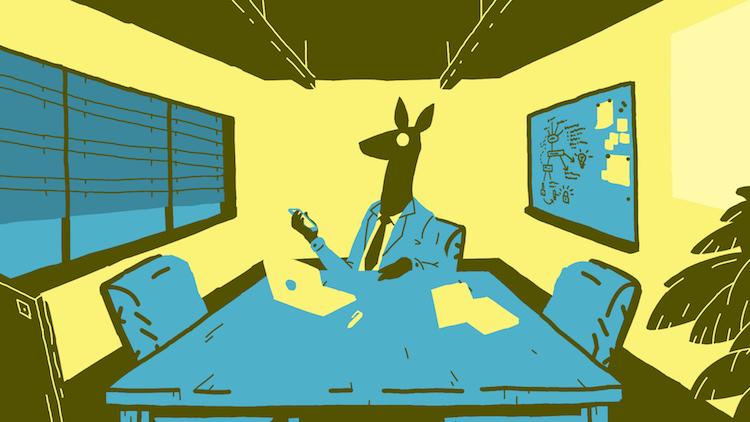Szene aus «Ruben Leaves» – Der Chef wartet vergeblich im Besprechungszimmer.