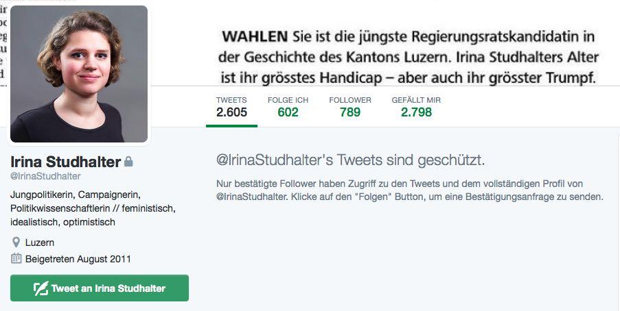 Das Twitter-Profil von Irina Studhalter: Ihre Tweets nicht mehr öffentlich sichtbar. {Bild: Screenshot/Twitter)