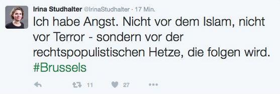 Dieser Tweet von Studhalter löste den Shitstorm aus. {Bild: Screenshot/Twitter)