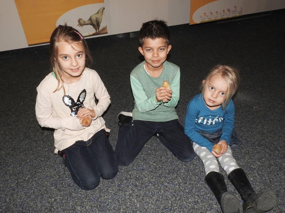 Jasmin, Elias und Eva (v.l.) sind bereits zum dritten Mal im Natur-Museum Luzern.