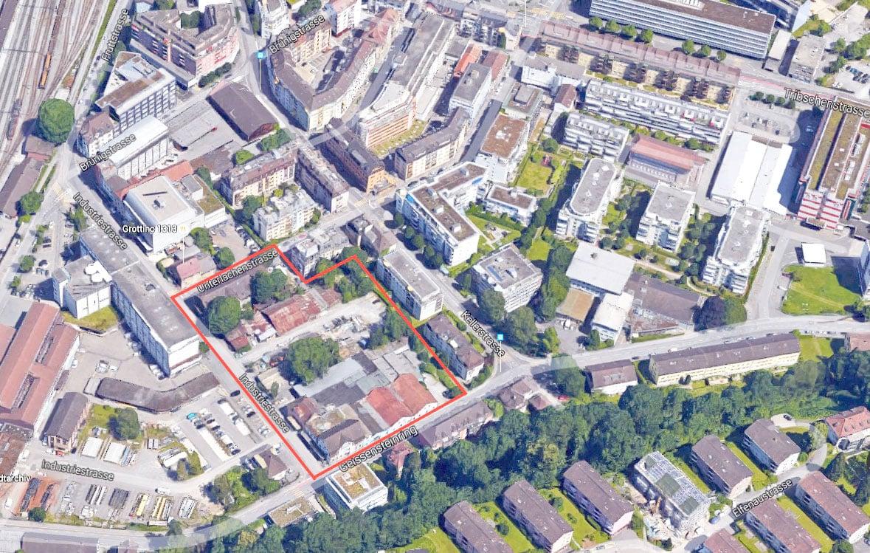 Das Areal bei der Industriestrasse, das «Chäslager» steht oben links.