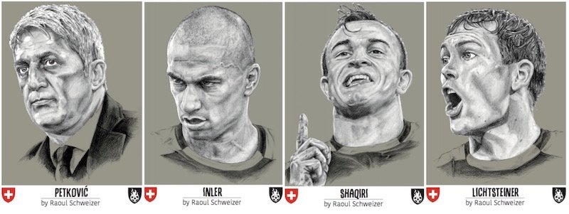 Die Schweizer Nationalmannschaft: Trainer Vladimir Petkovic, (noch offizieller) Captain Gökhan Inler, Zauberzwerg Xherdan Shaqiri und der Luzerner Stephan Lichtsteiner.