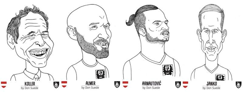 Das österreichische Team: Schweizer Trainer Marcel Koller, Torwart Robert Almer, Exzentriker Marko Arnautovic und FC Basel-Stürmer Marc Janko.