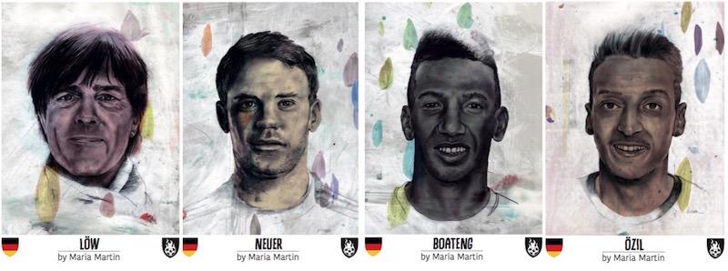 Weltmeister Deutschland: Trainer Jogi Löw, Torwart-Libero Manuel Neuer, Abwehr-Ass Jérôme Boateng und Spielmacher Mesut Özil.