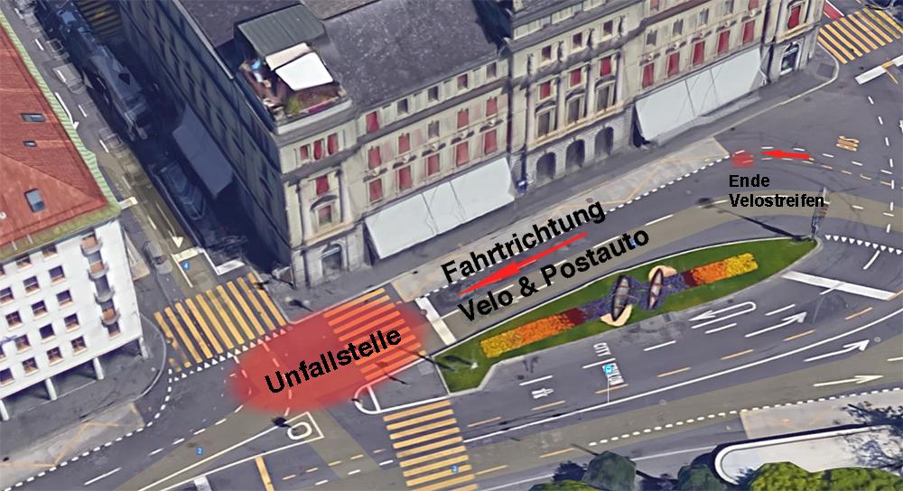 So präsentierte sich die Situation am Schweizerhofquai (Bild: Google Maps/Montage zentralplus).