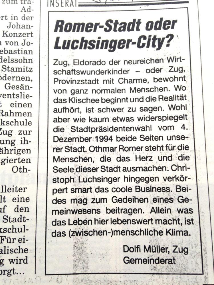 Stadtratswahlkampf 1994.