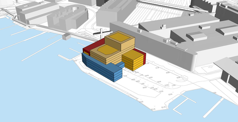 Mit Volumenstudien prüften die Studien, wie sich der Neubau in die Gegend einfügt – hier am Beispiel Inseli.