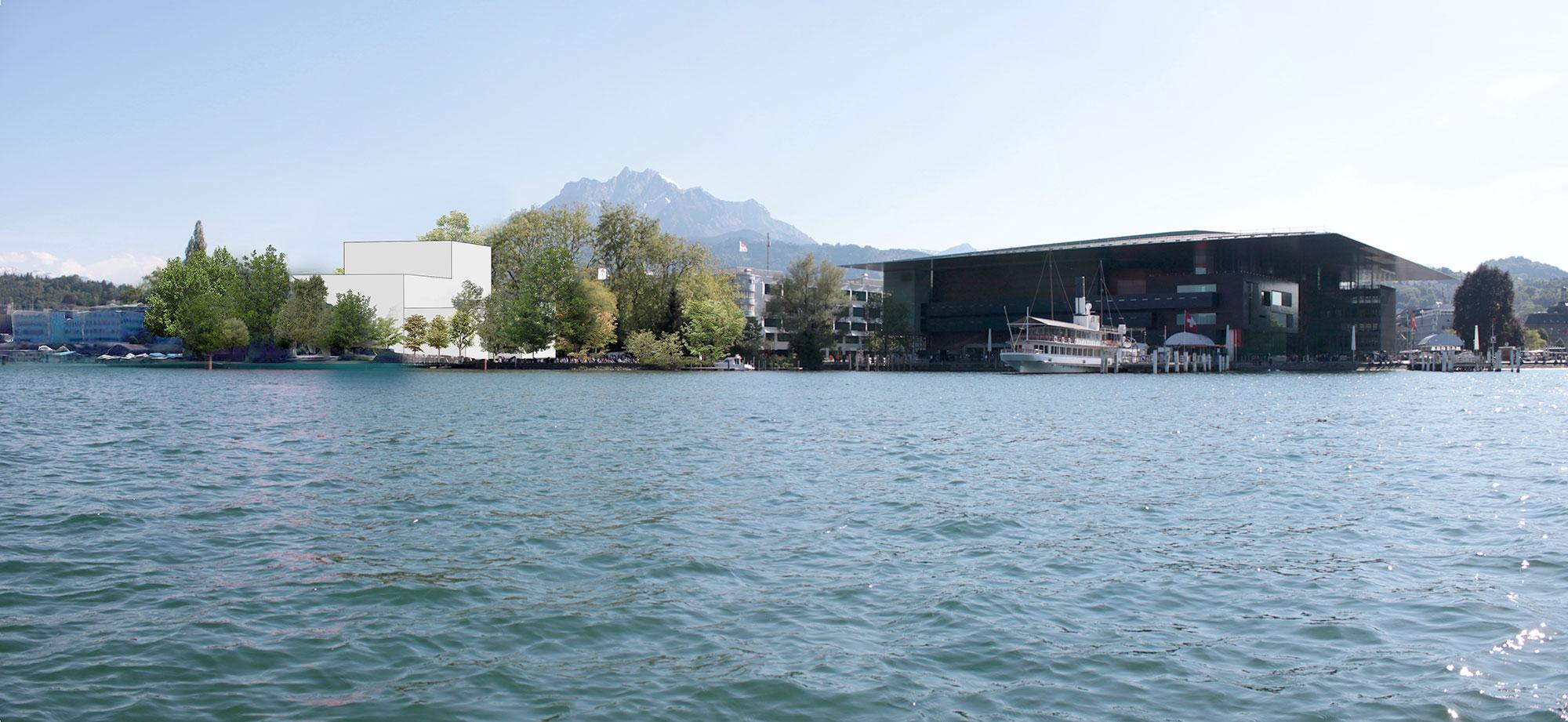 Fotomontage der Salle Modulable am Standort Inseli: Hier soll sie stehen.