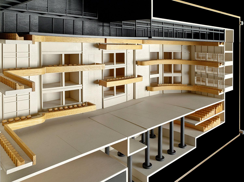 Modell der Grossen Bühne: Flachbodenanordnung mit kreativer Nutzung von Balkonen und Wandfenstern.