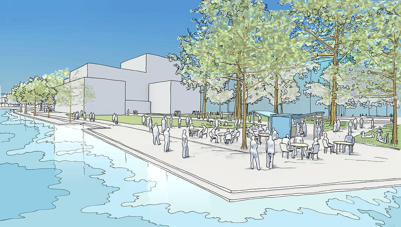 Und so fügt sich der Theaterbau ins Inseli: Die Grünfläche bleibt grösstenteils erhalten.
