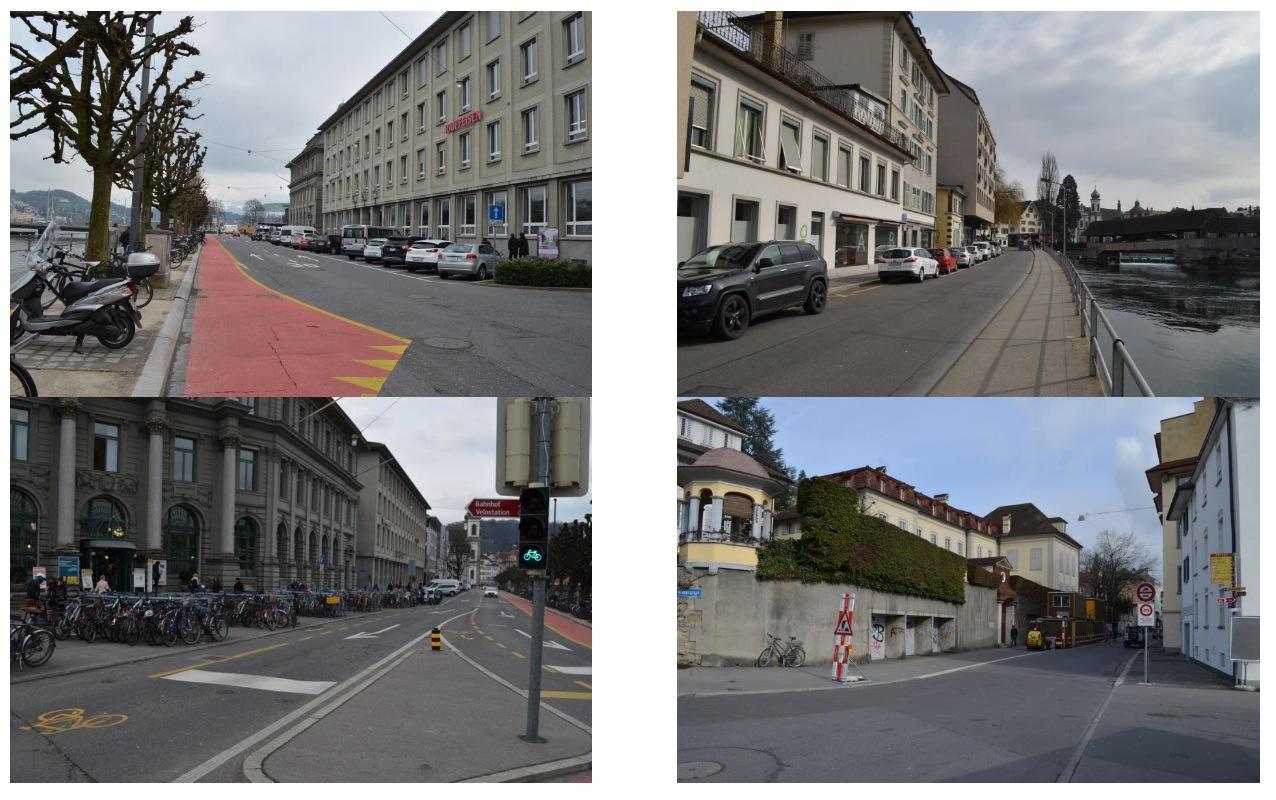 Hat gemäss Studie Potenzial: die Bahnhofstrasse (links). Und der St. Karli-Quai (rechts) könnte ebenfalls aufgewertet werden.