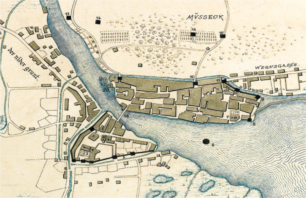 Schon im 13. Jahrhundert existierte die Kleinstadt links der Reuss (Planausschnitt von 1250).
