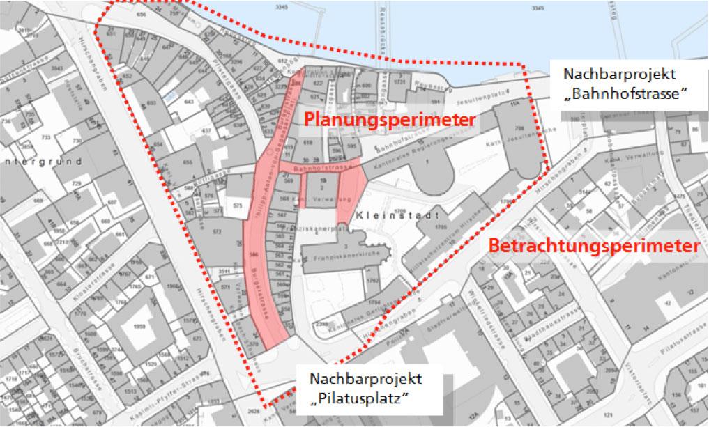Planungsperimeter: Auf dieser Fläche wird die Kleinstadt restauriert.